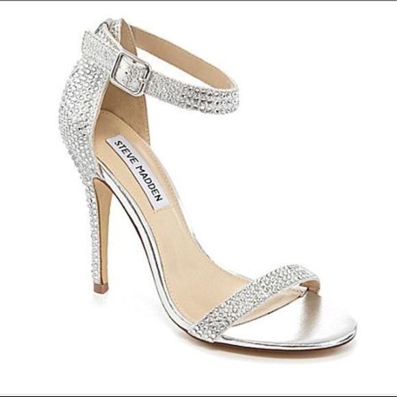 c3173953fc7 Steve Madden Realov-R silver rhinestone heel 7. M.  M 5b6f70be1b16db6e3369dedf